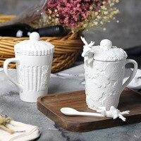 Cổ nổi trà chén gốm đáng yêu ren nai sừng tấm cốc cà phê với cover muỗng cà phê creative drinkware quà tặng hộp 19