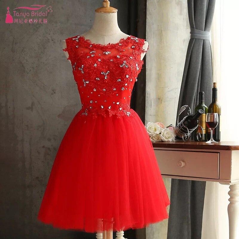 Weddings & Events Kristall Spitze Rot Homecoming Kleider Ziemlich Tüll Kurzen Cocktail Kleid Party Kleid Günstige Auf Lager Dqg313