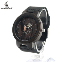 BOBO BIRD H29 Mens Wooden Watch Doodle Paint Dial Exposed Movement Quartz Wristwatch With Leather Strap