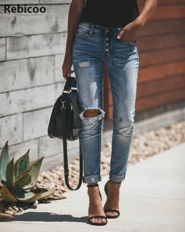 Women High Waist Ripped Denim Jeans Femme Skinny Pencil Pants Jean Hole Ripped Denim Jeans Casual Stretch Skinny Trousers Jeans