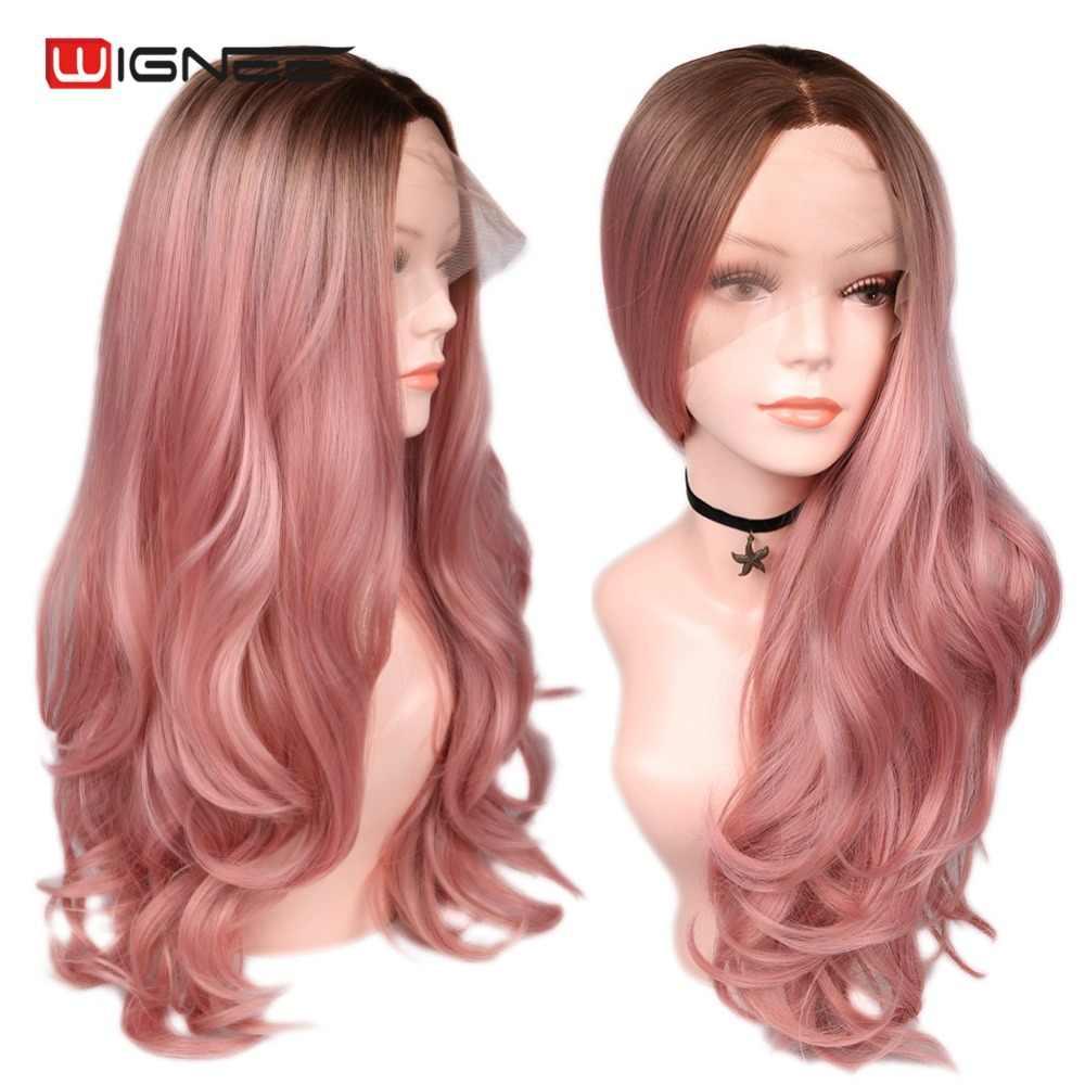 Wignee средняя часть длинные волнистые волосы Синтетические волосы на кружеве синтетический парик для Для женщин 2 Tone Ombre розовое золото волос высокой плотности женские парики
