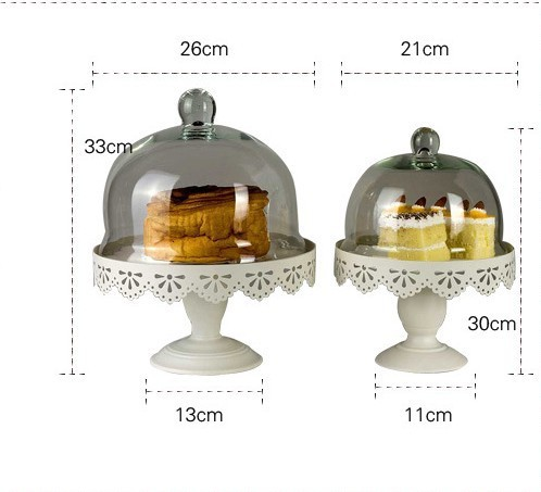 metal cake stand display with glass dome dessert Fruit pan Wedding dessert cake pan decoration