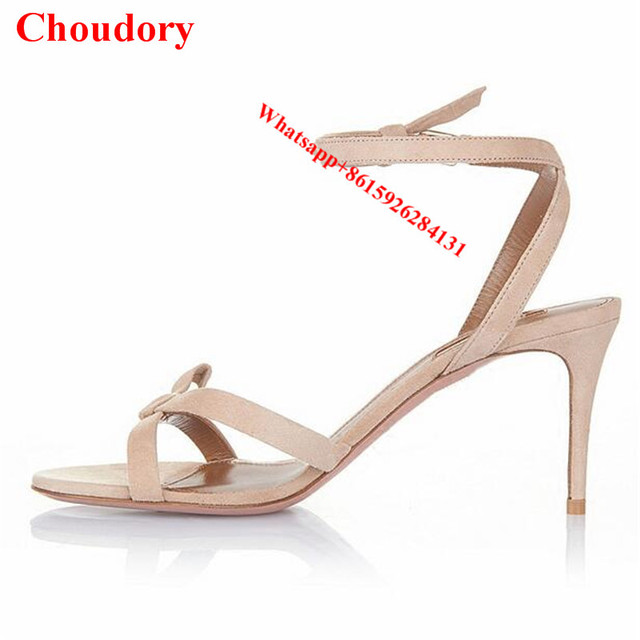 1d896b55188 Bowtie Passion Suede Strappy Sandals Open toe Stiletto Heel Women Party  Wedding Shoes Red Black Nude Women High Heels Pump Shoes