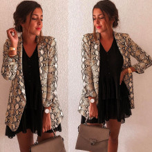Women Snake Print Long Sleeve Suit Coat Blazer Biker Jacket