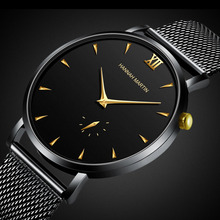 Hannah Martin Creative Wristwatch Mens Black Steel Ultra Thin Sports Watches Man Waterproof Clock Luxury Golden Relogio