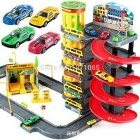 De varios Pisos Ciudad Garaje Ciudad Juguete Vehículo Del Carro Del Coche Auto Coche Espiral Roller Rail Aleación Niños Vehículos de Transporte Neumático caso