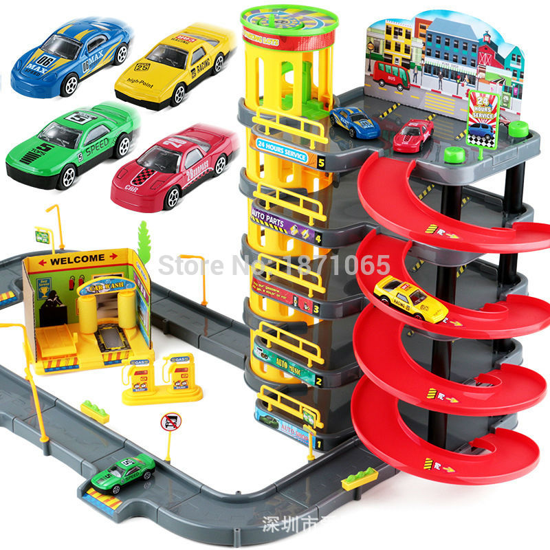 Multi Storey City Parking Garage Toy City Car Truck Vehicle Auto Car Spiral Roller Rail Alloy Vehicles Kids Tire Carrying Case