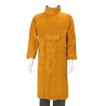 Прочный кожаный сварки длинное пальто фартук Защитная Одежда Костюм сварщика на рабочем месте Защитная одежда