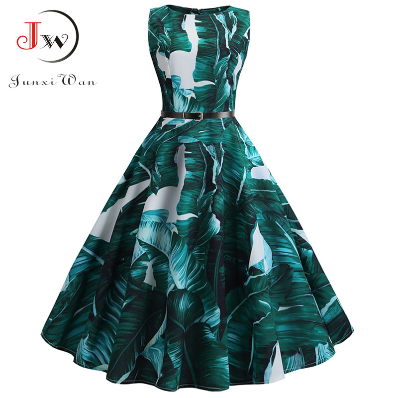Women Vintage Floral Print Summer Dress Elegant Swing Rockabilly Party Dresses Plus Size Casual Midi Tunic Beach Dress