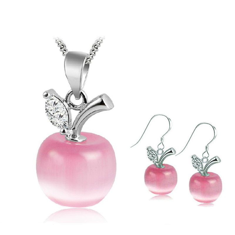 Fancy Fruit Pink Apple Moonstone Kendra Hanging Earrings Pens