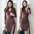 2017 spring winter women knit dress sexy slim V-Neck Long sleeve sweater knitted package hip vestidos bodycon sweater dresses