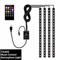 7color Music control Auto RGB Strip Foot Light with usb Inside Atmosphere lamp With Remote Control car interior decoration