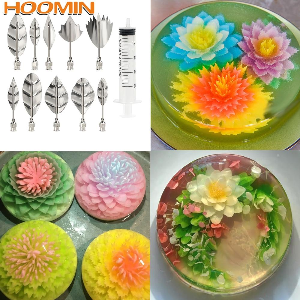 HOOMIN 10 Pcs Pudding Nozzle +1 Syringe Tool 3D Jelly Flower Cake Jello Gelatin Art Tool Russia Nozzle DIY Cake Decorating Tools