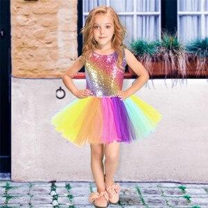 Image 5 - Arcobaleno Paillettes Vestito Dal Tutu per I Bambini di Modo Backless Senza Maniche Tulle del Vestito Delle Ragazze Vestiti Colorati Della Ragazza Dei Bambini Del Vestito Da Partito 2 8