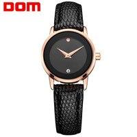 Saatler'ten Kadın Saatleri'de 2017 Gül Altın DOM Marka Deri İzle Lüks Klasik kol saati Moda Rahat Basit Kuvars Saatler Saat Kadın Saatler