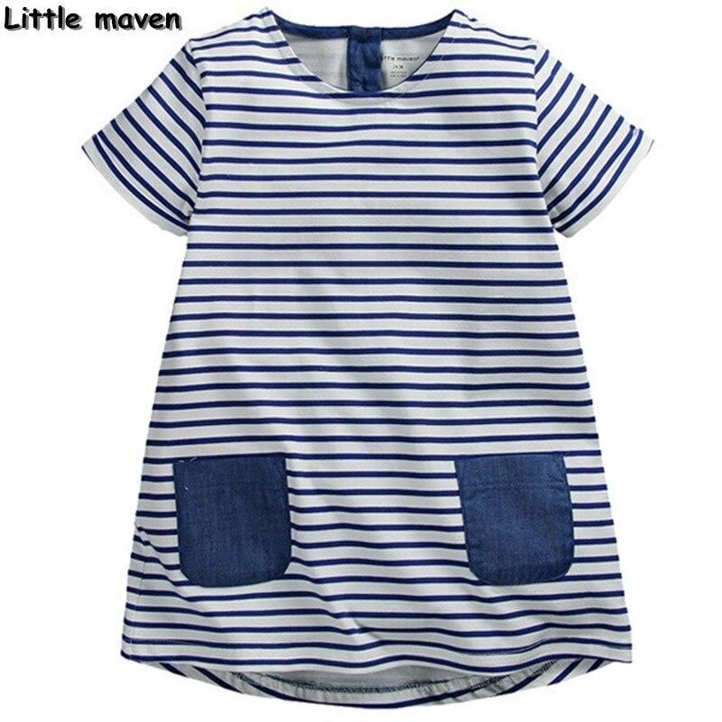 Little maven children brand clothing 2017 new summer autumn baby girls clothes kids Cotton striped pocket