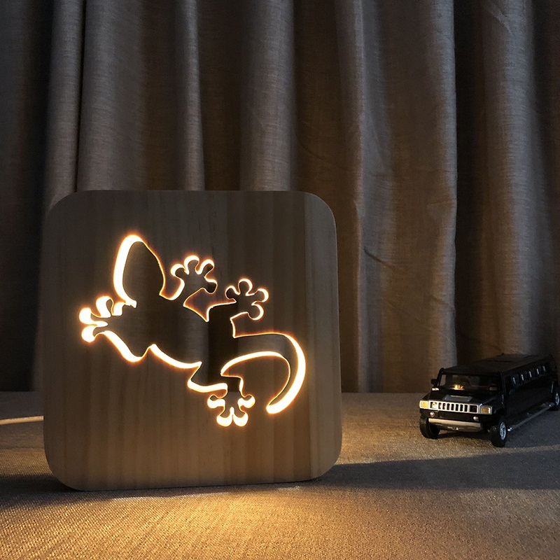 LED Nightlight Wooden Night Lamps Gecko Home Decor NIght Lamp DIY Cartoon 3D Desk Lamp Home Decorative Night Lighting IY801101