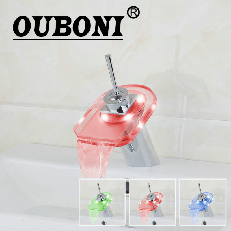 OUBONI Glass Square LED Bathroom Basin sink Faucet waterfall bathroom vanity Mixer Tap Chrome Bathroom Faucets,Mixers & Taps
