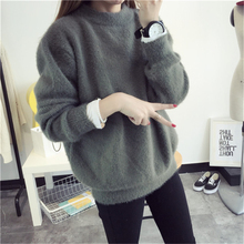 2016 New Women Autumn Winter Thick Mink Cashmere Sweater Crewneck Casual Loose Knitting Fuzzy Sweater Pullovers Purple Red Green