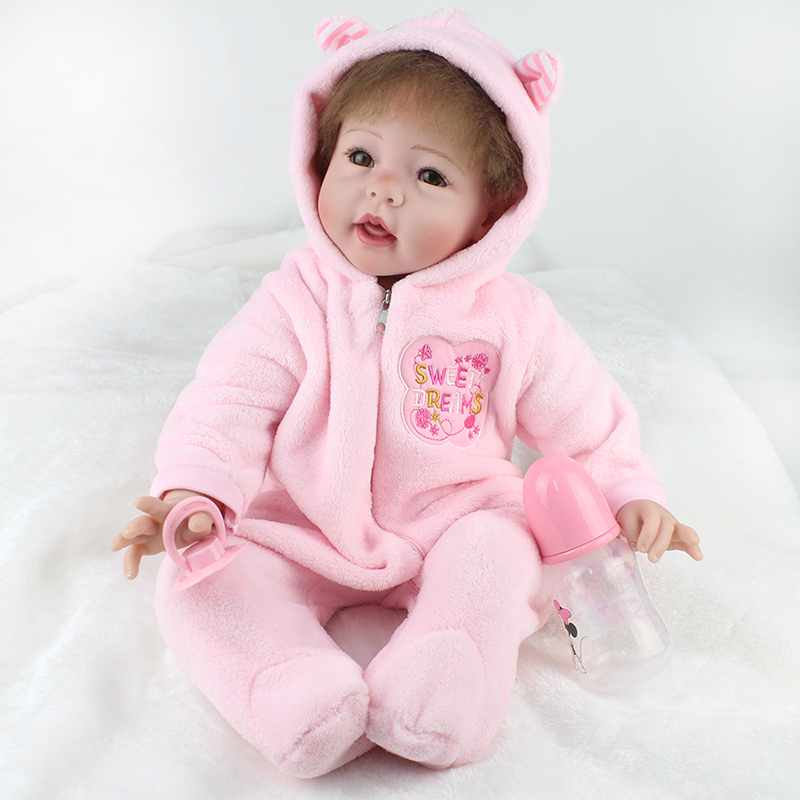 KAYDORA Lifelike Baby Dolls For Children 22 inch 55cm Smiling Realistic Soft Vinyl Silicone Reborn Dolls