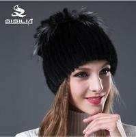 SISILIA 2018 New Women's Hat With Mink Fur Siliver Fox Fur Winter Cap Fashion Women's Winter Hats Quality Packaging
