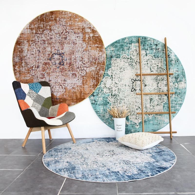 Loartee Polyester persan ethnique maison tapis rond tapis chambre salon chambre enfants porche Yoga tapis Home Decora