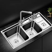 Double Bowl Thickness Sinks Stainless Steel Kitchen Sink Kitchen Above Counter or Udermount Sinks Vegetable Washing Basin