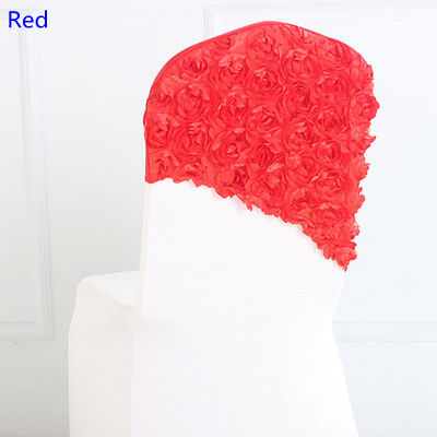 Red colour embroider rosette satin chair sash wedding decoration chair covers hood lycra band fit all chairs wholesale