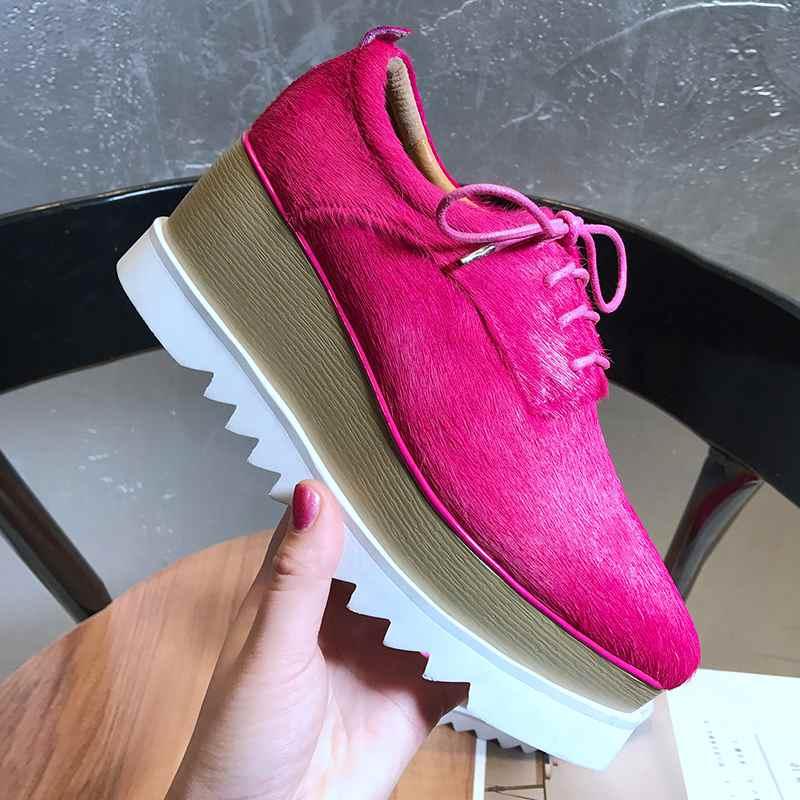Krazing وعاء 2019 ريال الفراء السبيب أشار تو منصة عالية أزياء من الدانتل يصل سميكة أسفل الأصلي تصميم المصارع أحذية L18-في أحذية نسائية من أحذية على  مجموعة 3