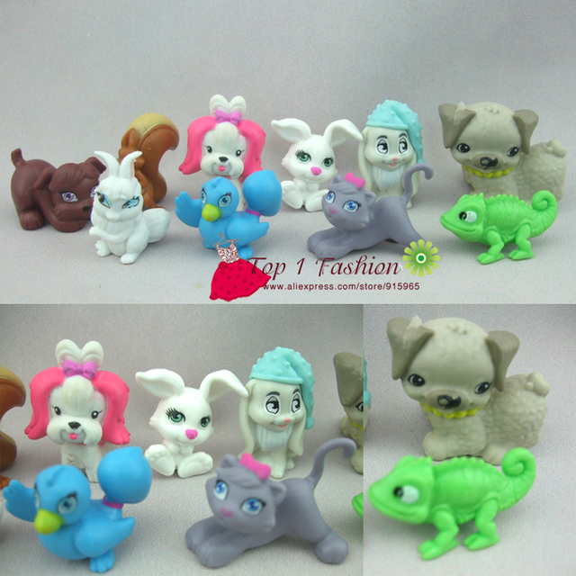Free shipping 10pcs/set cute cartoon animal pet figure for barbie doll