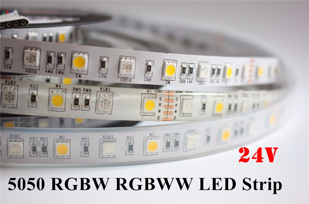 5M / LOT DC24V Led Strip RGBW RGBWW 5050 Жарықдиодты жолақты жарық 24V 60LED / M RGB + Ақ RGB + Warm White Led таспа декорирование