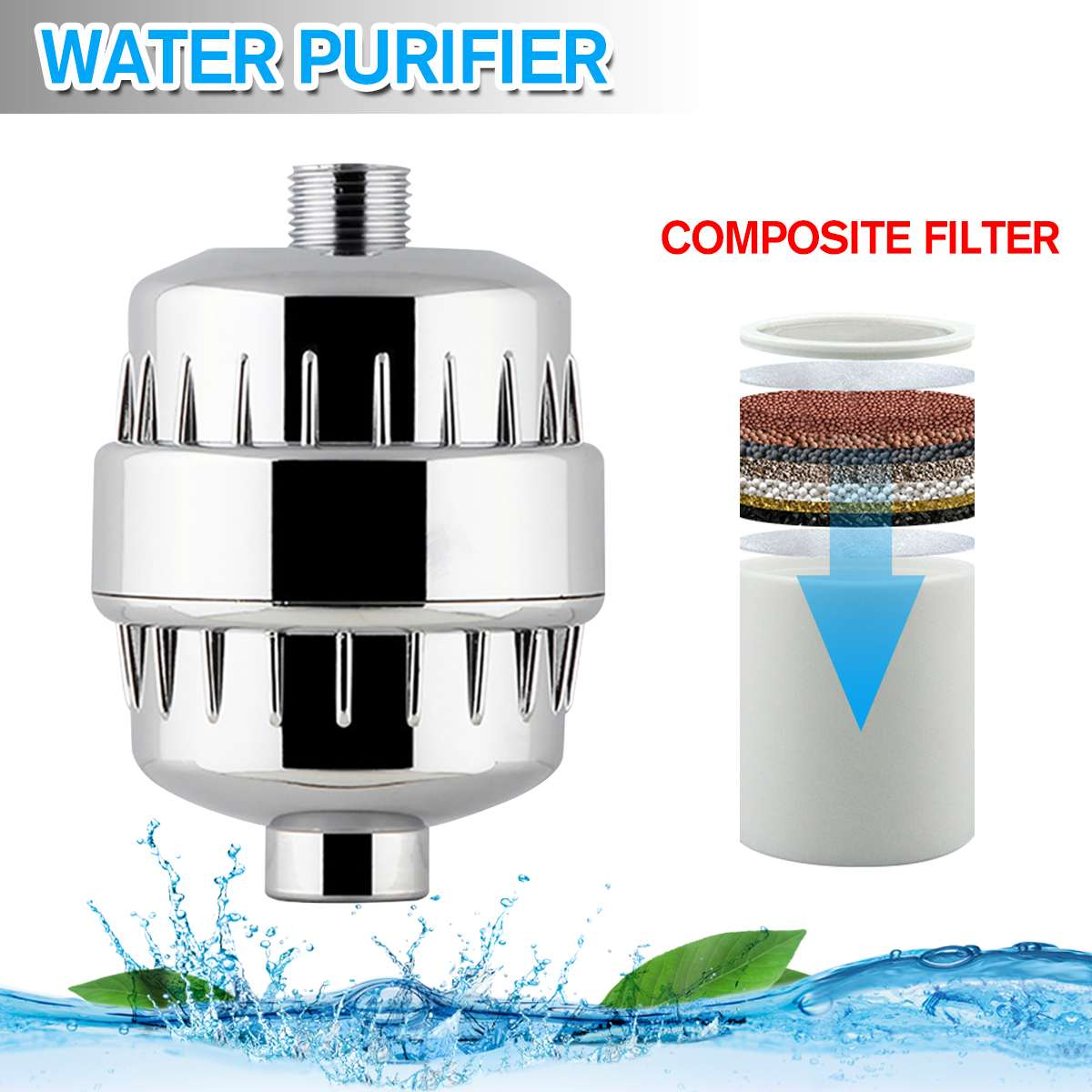 Water Purifier Bathroom Shower Filter Bathing Water Filter Purifier Water Treatment Health Softener Chlorine Water Purifier Set