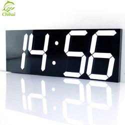 Reloj de pared Digital LED despertador luz Reloj de pared grande cronómetro electrónico cronómetro estación meteorológica decoración de Año Nuevo reloj Mural