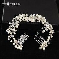 TOPQUEEN HP128 аксессуары для волос жемчуг цветок лентой Свадебные или вечерние Диадемы Корона длинная тиара двойной гребень для волос