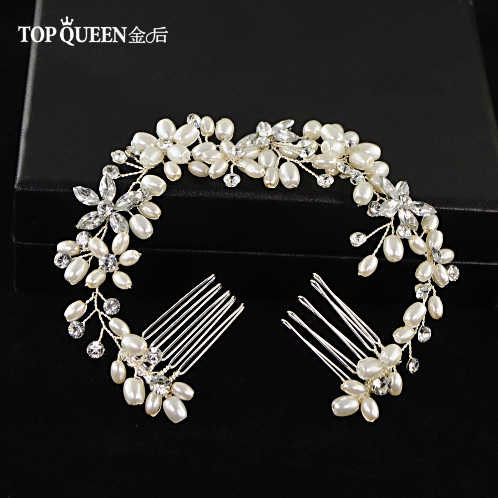 TOPQUEEN HP128 Hair Accessories Pearl Flower Hairband Wedding Bride Or Bridesmaids Tiaras Crown Length Headband Double Hair Comb
