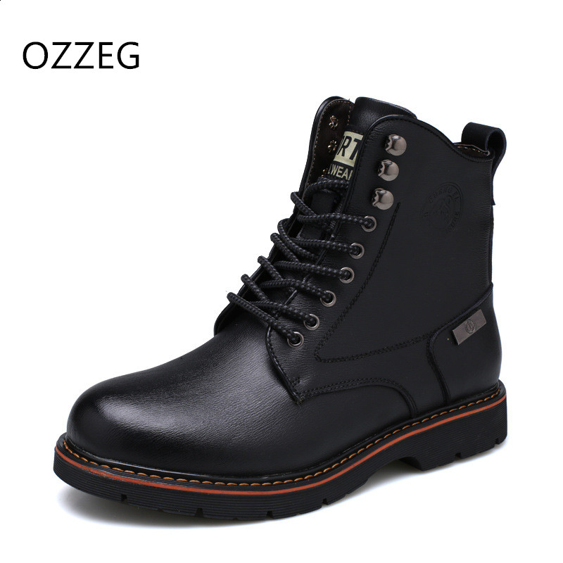Men Shoes Fashion Martin Boots Warm Fur Winter Men Boots Genuine Leather Snow Ankle Boots for Man Footwear New Casual Shoes Men