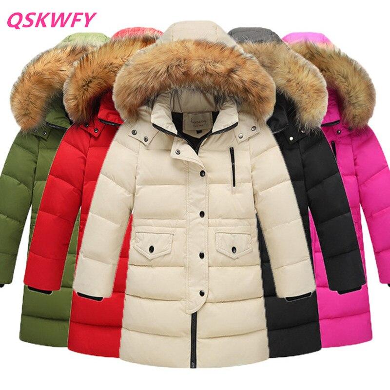 4eddd2568 2018 nuevos niños invierno pato abajo niñas engrosamiento cálido abajo  Chaquetas niños largo gran piel con capucha abrigos niños abajo chaqueta en  Parkas y ...