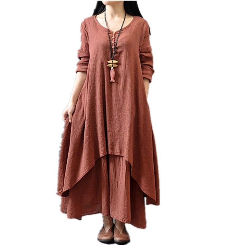 2edd7c16cd6 Clobee 2017 Women Dress Loose Light Spring Summer Dress Cotton Linen Long  Maxi Beach kimono Dress Boho Vestidos Plus Size M-5XL