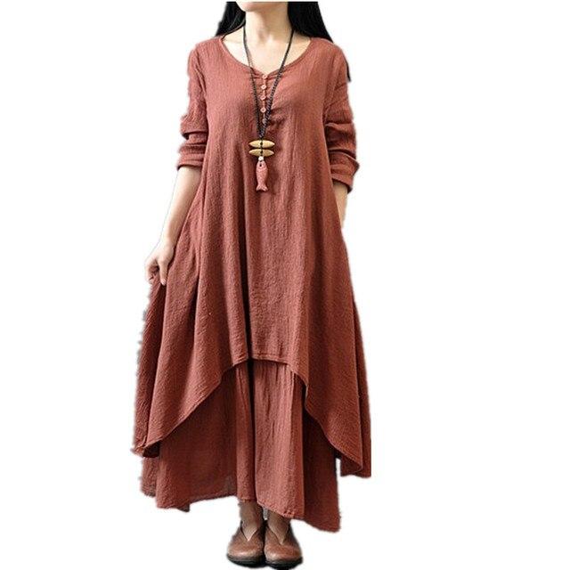 6a126f5d85c14 US $13.59 49% OFF|Clobee 2017 Women Dress Loose Light Spring Summer Dress  Cotton Linen Long Maxi Beach kimono Dress Boho Vestidos Plus Size M 5XL-in  ...