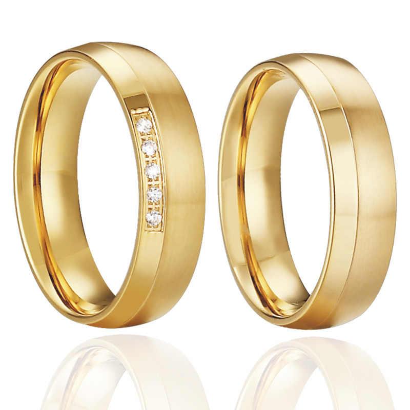d319f8f13db3 ... Anillos De Compromiso clásicos para hombre joyería Color oro amor  alianzas comodidad ajuste aniversario boda pareja ...