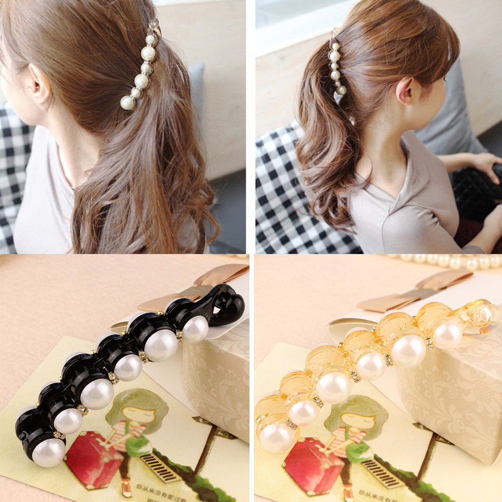 New 1Pc Simulated Pearls Hairpins Hair Clips Jewelry Banana Clips Headwear Accessories Women Hairgrips Girl Ponytail Barrettes