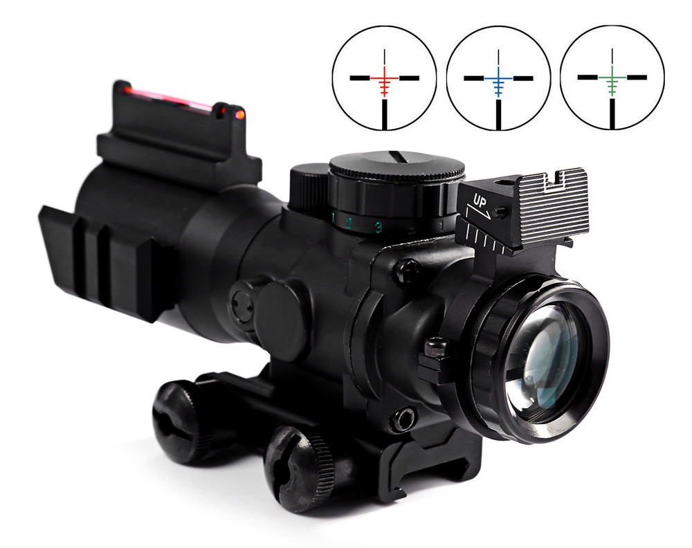 4X32 Rifle Scope with Red/Green Fiber Optic Sight 20mm Dovetail Reflex Optics Scope Tactical Sight For Hunting Gun Rifle Airsof hunting 4 x 32 compact rifle scope fiber sight red dot scope with fiber optic sight for 20mm rail ulitity