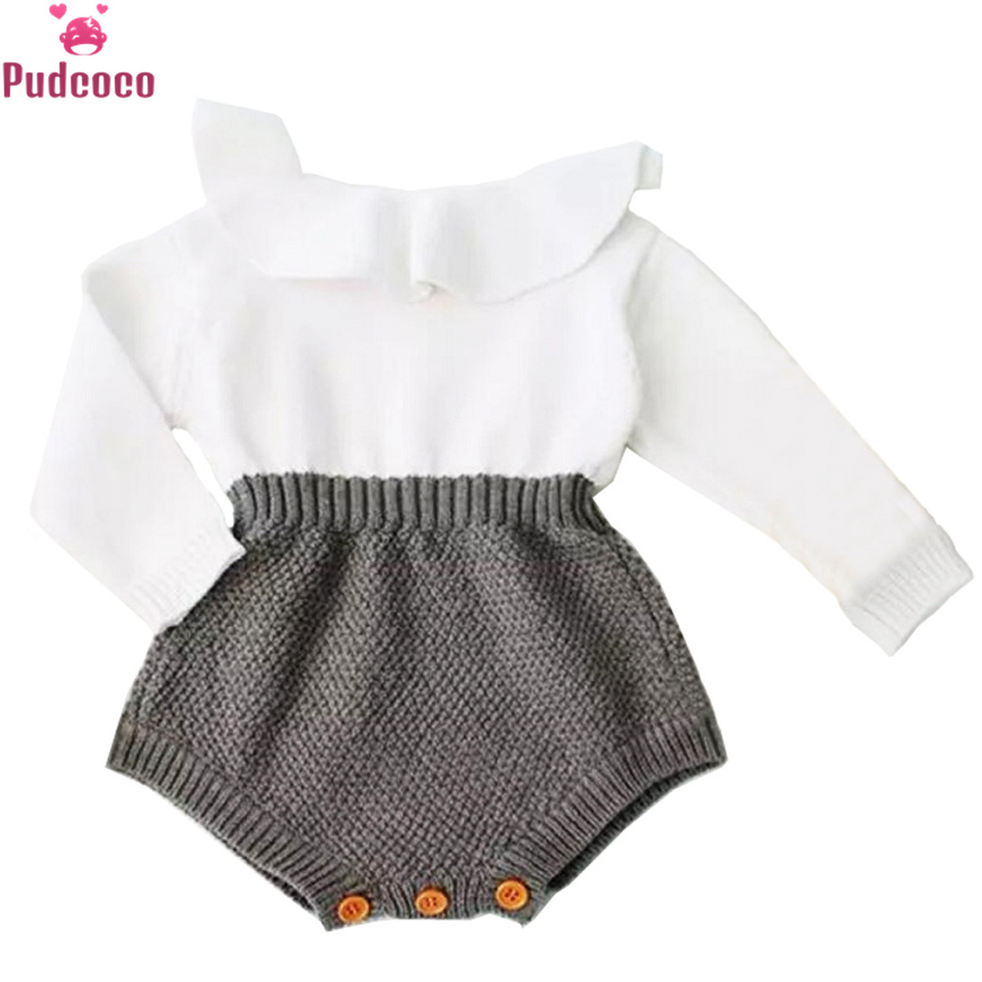 Cute Knitted RompersNewborn Baby Girls Clothes Wool Knitting Tops Long Sleeve Baby Girl Romper Warm Outfits Clothes