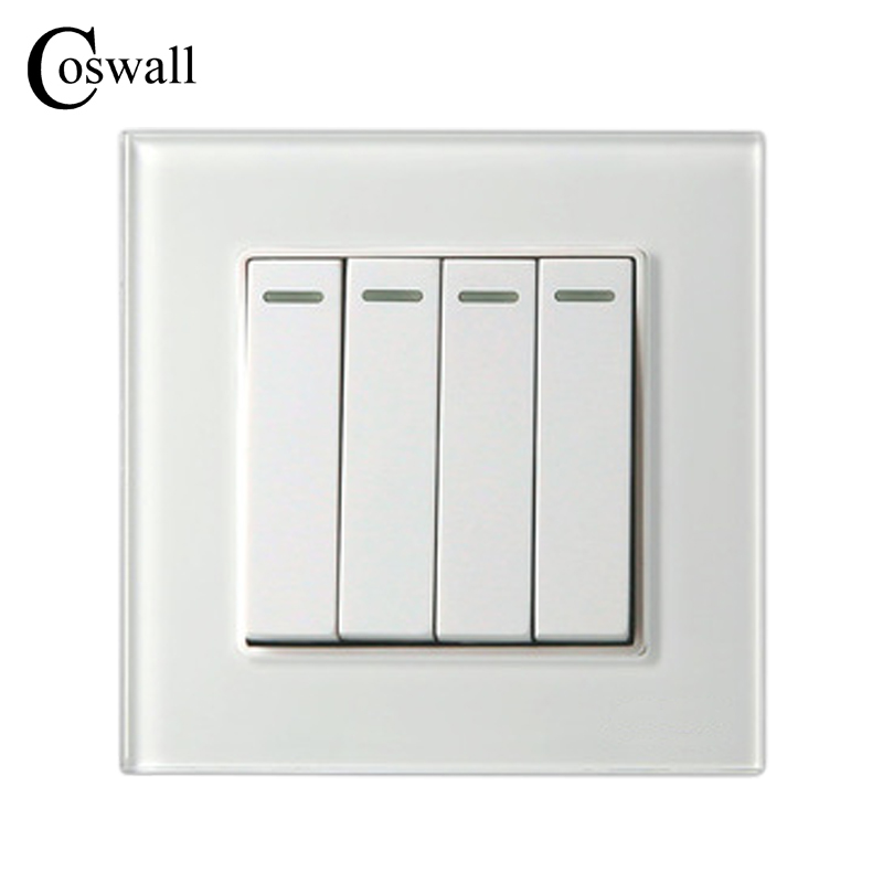 COSWALL 4 Gang 2 Way Luxury Crystal Glass Panel Light Switch Push Button Wall Switch Interruptor 16A mvava push button light wall switch 3 gang 1 way 16a 250v luxury white crystal glass panel factory direct sale free shipping