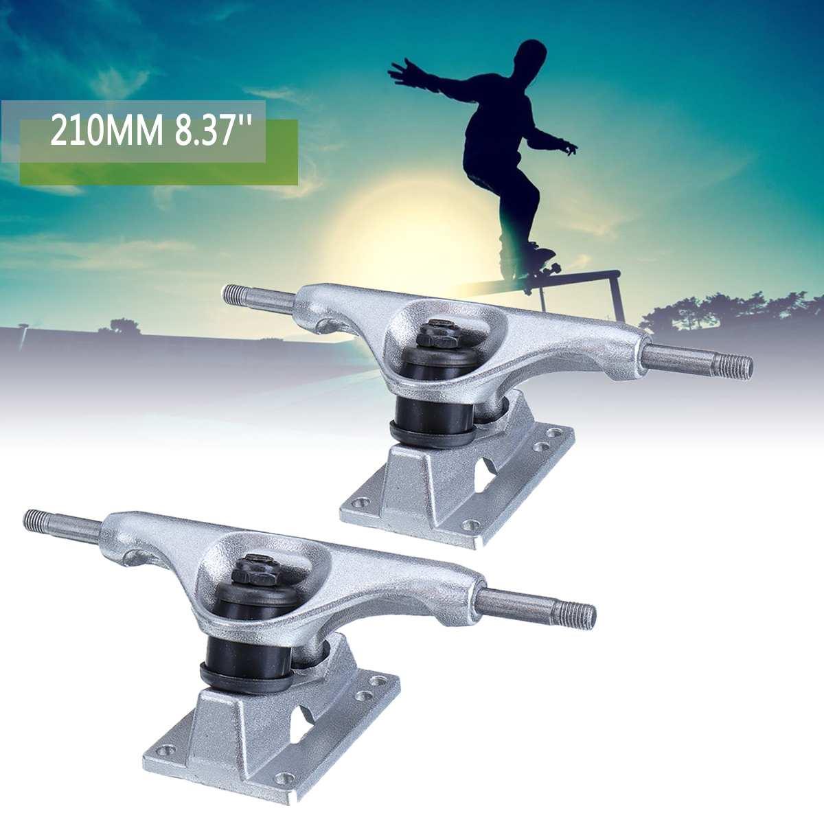 1 paire 210mm 8.37 ''argent Double culbuteur Profession Longboard camions Aluminium électrique Skateboard cintre pièces planche à roulettes