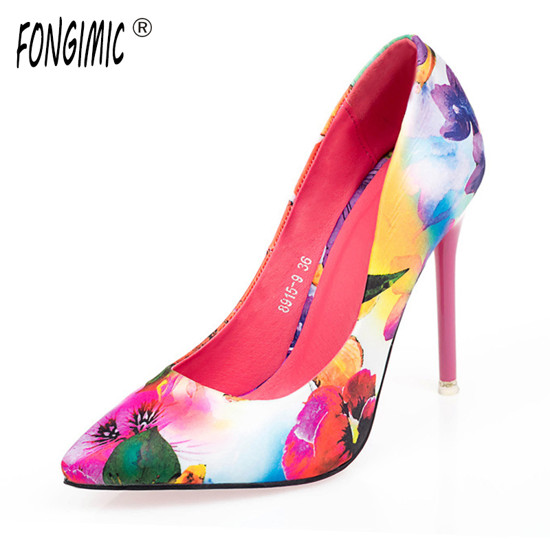 Women summer spring satin new thin high heels hot sale printing flowers classic high quality pointed toe women pumps women shoes new 2017 spring summer women shoes pointed toe high quality brand fashion womens flats ladies plus size 41 sweet flock t179