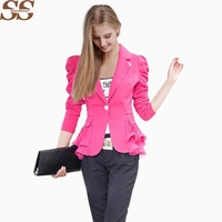 2017 Fashion Spring Blazer Size S 6XL Work Wear Jacket Women Long Sleeves Coat Candy Color