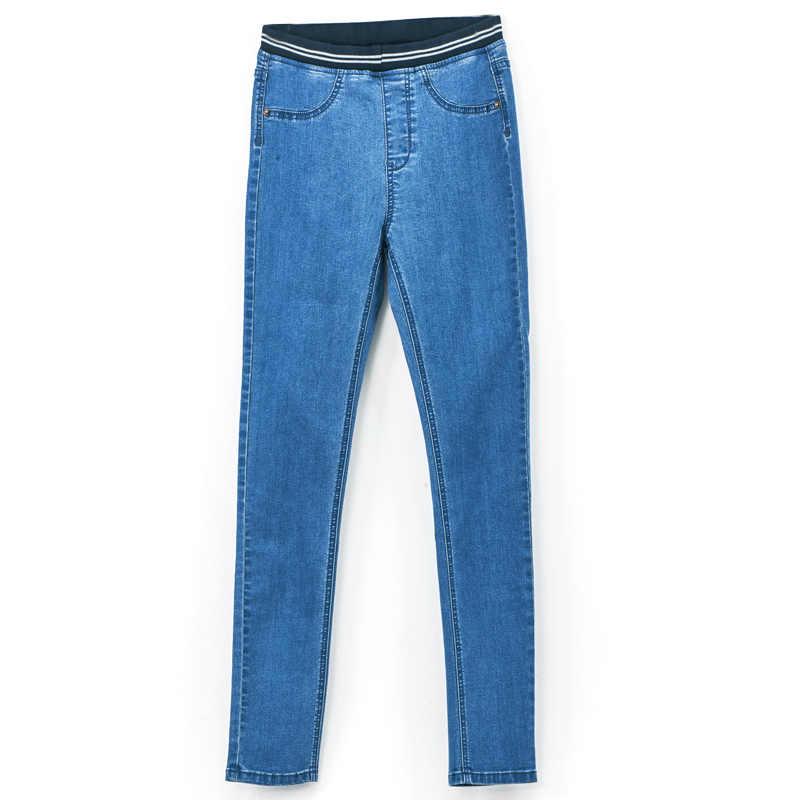 Leijiالجينز موضة الخريف طماق الأزرق S 6XL امرأة منتصف الخصر حجم كبير النساء عالية مرونة كامل طول السراويل نحيل جينز رفيع