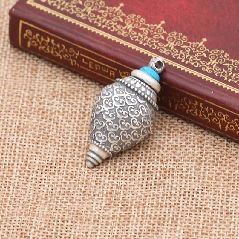 925 argent Sterling Nectar pilules Vintage bijoux lection tibétain Sarira pendentif mémorial bouddhiste titulaire conque cendres urne collier