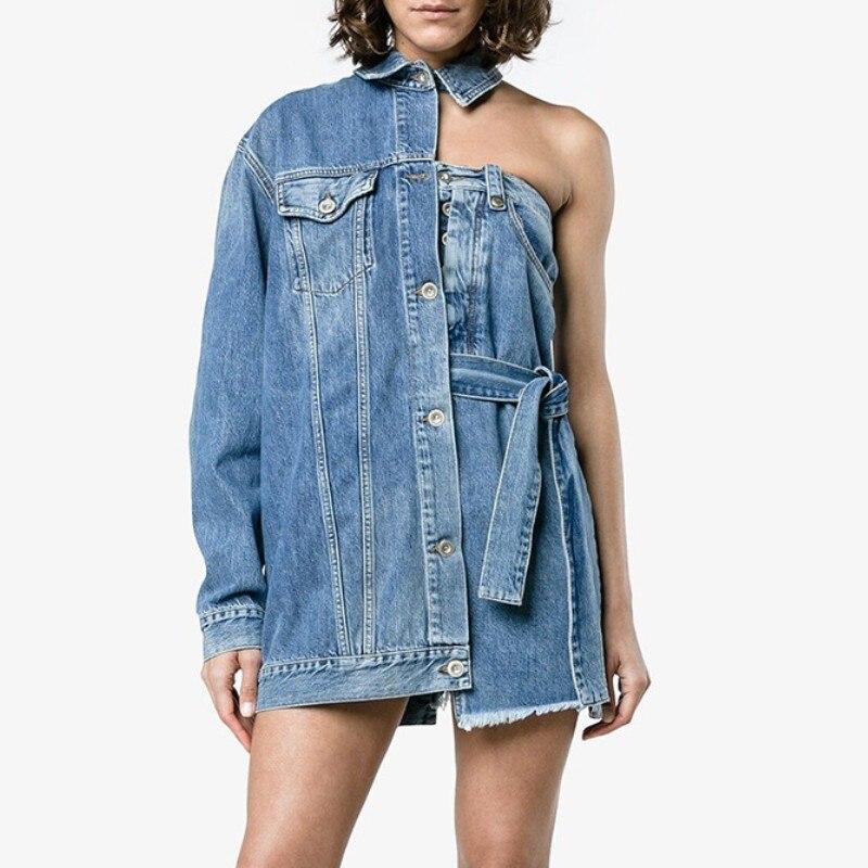 Manches Ysmarket Streetwear Femme Veste Manteaux Tops Automne Denim Unique Femmes Bleu Un Jeans E16430 Mode Poitrine Manteau Irrégulière vxvqwpr4A